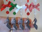 Silver Tibetan Shoe, Red Bow, Red Crackle Bead - Xmas Tree Decoration